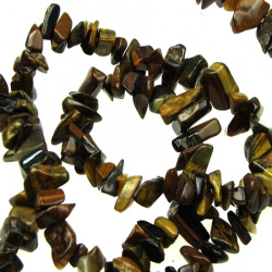TIGER EYE Gemstone Chips Strand 5-7mm, ~ 90cm