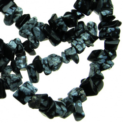 Gemstone Chip Beads Strand  5-7 mm ~ 90 cm SNOWFLAKE OBSIDIAN