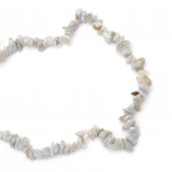 Наниз естествени камъни чипс 8-12 мм ~90 см АХАТ ДАНТЕЛА ИВИЧЕСТ сиво-син