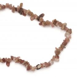 Наниз естествени камъни чипс 8-12 мм ~90 см КВАРЦ ягодов