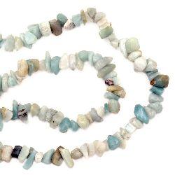 Наниз естествени камъни чипс 8-12 мм ~90 см АМАЗОНИТ