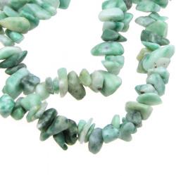 Наниз полускъпоценни камъни чипс 5-7 мм ~90 см АМАЗОНИТ