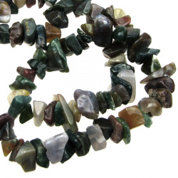 Наниз естествени камъни чипс 8-12 мм ±90 см АХАТ ИНДИЙСКИ