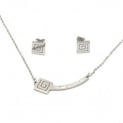 Комплект гердан и обеци стомана с кристали спирала