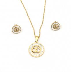 Комплект гердан и обеци стомана с кристали цвят злато сърца