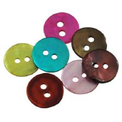 Mother-of-Pearl Button, Assorted Colors 1x10 mm - 20 pieces