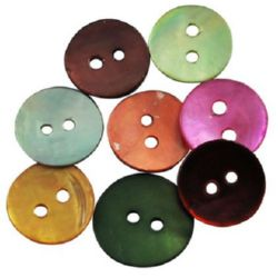 Mother-of-Pearl Button, Assorted Colors 1x13 mm - 10 pieces