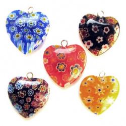 Висулка сърце цветно стъклено Мурано 2 мм