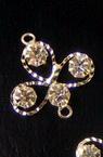 Висулка метал с кристали 20 мм цвят сребро -10 броя