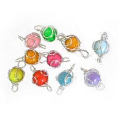 Sphere silver wire tracery 1 mm with a color ball inside 8 mm - 10 pieces