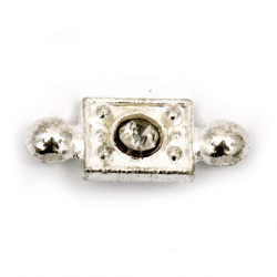 Свързващ елемент метал с кристал 19x7 мм цвят сребро -5 броя