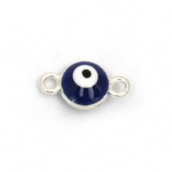 Свързващ елемент метал синьо око 12x7x5 мм дупка 1.5 мм цвят сребро - 5 броя