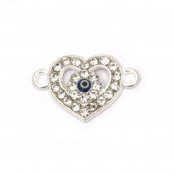 Свързващ елемент метал с кристали сърце със синьо око 20x13x3.5 мм дупка 2 мм цвят сребро -2 броя