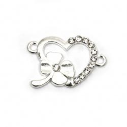 Element de legătură metalic cu inimă cu inimă cu trifoi orificiu 25x16x2,5 mm 1,5 mm culoare argintiu -2 bucăți