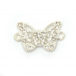 Свързващ елемент метал с кристали пеперуда 25x15.5x4 мм дупка 2 мм цвят сребро -2 броя
