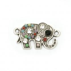 Element de legătură metalic cu cristale elefant 23x13,5x3 mm orificiu 1,5 mm culoare argintiu -2 bucăți
