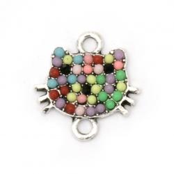 Свързващ елемент метал с кристали коте цветно 18x17x2.5 мм дупка 2 мм цвят сребро -2 броя