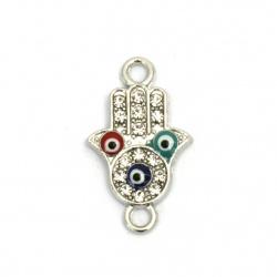 Свързващ елемент метал с кристали ръката на Фатима с очи 24x14x3 мм дупка 1.5 мм сребро -2 броя