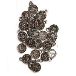 Pandativ monedă metalică cu inel 18x14x2 mm orificiu 2 mm culoare argintiu -50 grame ~ 172 bucăți
