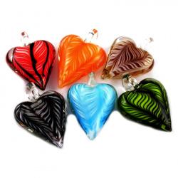 Висулка стъкло сърце 30~31x41~43x12~13 мм дупка 2 мм ръчна изработка рисувано цветно