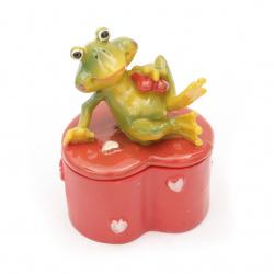 Cutie de inimă cu broască 90x65 mm
