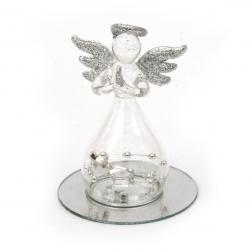Стъклена фигурка ангел със сребърен брокат 7.5 см