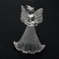 Стъклена коледна фигурка ангел със сребърен брокат 6 см