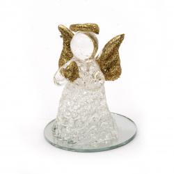 Стъклена фигурка ангел със златен брокат 5.5 см