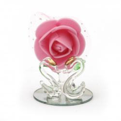 Стъклена фигурка цвете с лебеди 6 см
