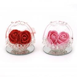 Стъклена фигурка кошница с цветя 4.5 см АСОРТЕ