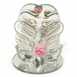 Стъклена фигурка лебеди с цвете и сърце 9 см АСОРТЕ