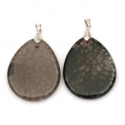 Pandantiv piatră naturală AHAT crapată gri 44 ± 46x34 ± 36 mm