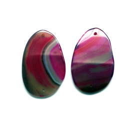 Pandantiv piatră naturală agat ciclamen 37 ~ 50x20 ~ 25x3 ~ 4x2 mm