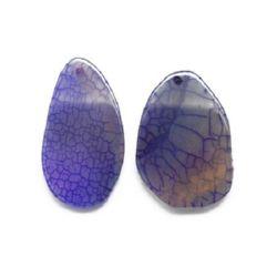 Pandantiv piatră naturală AHAT violet 37 ~ 50x20 ~ 25x3 ~ 4x2 mm