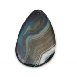 Pendant natural stoneAgate striped blue 35 ~ 45x55 ~ 65 mm