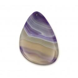 Висулка естествен камък АХАТ ивичест лилав 35~45x55~65 мм