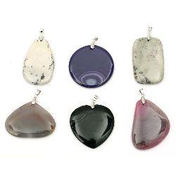 Висулка естествен камък АСОРТЕ форми и цветове 35~55x40~60 мм