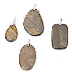 Висулка естествен камък ТИГРОВО ОКО АСОРТЕ форми 35~50x50~70 мм