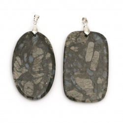 Pendant natural stone Jasper Assorted shapes 35~50x50~70 mm