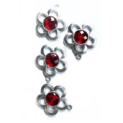 Acrylic flower charm with crystals 35 mm - 10 pieces