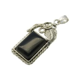 Semi-precious black  stone charm 23 x 54 x 8 mm