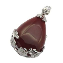 Pandantiv piatră naturală AHAT roșu 27x46x8 mm gaură 4 mm