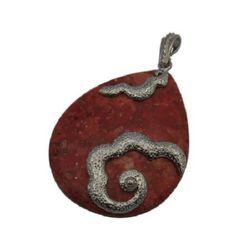 Semi-precious stone charm Coral 40 x 62 x 7 mm