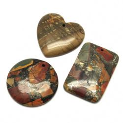 Наниз мъниста полускъпоценен камък висулка естествен камък ТЮРКОАЗ НАТУРАЛЕН АСОРТЕ форми 30~49x39~47x5~6 мм дупка 1 мм