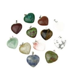 Semi-precious stone charm 22 x 20 x 5 mm MIX
