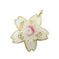 "Pendant flower metal painted ""Cloisonne"" 25x22 mm hole 3 mm white"