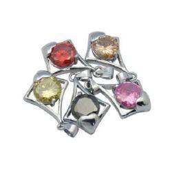Висулка метал с Цирконий 17x29x6 мм дупка 3.5 мм цвят сребро
