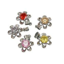 Pandantiv metal cu floare de zirconiu 15x24x5,5 mm orificiu 3,5 mm culoare MIX
