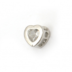 Brass bead with zirconium, heart shaped 16x13x3 mm extra quality