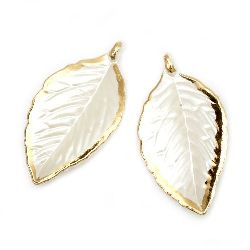 Pendant mother of pearl leaf 42.5x23x3 mm hole 1.5 mm white - 20 grams ~ 21 pieces